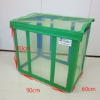 折りたたみカラス除けネットボックス90*60*80グリーン(ゴミ箱、ダストボックス、業務用、カラス対策、ごみ枠)
