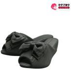ヒールスリッパ レディース 4.5cm モアレ リボン 日本製 D27001703 オフィスサンダル 室内 学校行事 ローヒール 美脚 スタイルアップ
