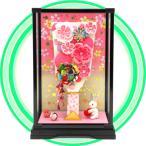 かわいいつまみ細工羽子板の入ったちっちゃなケース お花の羽子板飾り ミニガラスケース thk-02a