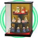 ショッピングケース 陶製のミニお雛さま 三段10人飾り コンパクトなガラスケース入り TKH001