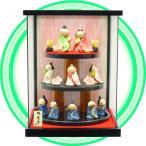 陶製のミニお雛さま 三段10人飾り コンパクトなガラスケース入り TKH002
