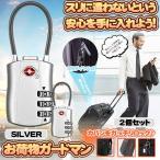 ワイヤーロック シルバー 2個セット TSA ダイヤル式 南京錠 TSAロック 暗証番号 海外 旅行 空港 盗難防止 スーツケース キャリーケース 2-ONILOCK-SV