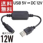 USB → DC12V 昇圧 12W対応 DCジャック (φ5.5/2.1 センタープラス) 変換ケーブル 23cm