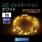 LED クリスマス イルミネーション 白1m ミニストリング ジュエルライト  電池式