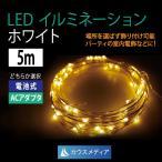 LED クリスマス イルミネーション 白5m ミニストリング ジュエルライト 電池式、AC100V