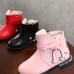 ブーツ ショートブーツ 子供用 女の子 靴 ハイカット ベルト付き ファー ボンボン ドット柄 チャーム付き ジッパー 裏起毛 お洒落 あったか 秋冬
