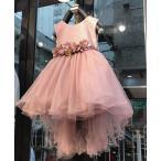 子供用 花ベルトドレス キッズ ジュニア 発表会 結婚式 お出かけ 花柄レーストップスシフォンスカート