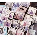 ステッカー フレークシール シール 45枚セット 切手風 切手風シール 切手風デザイン アンティーク調 おしゃれ 手紙 レター ノート