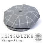 イギリス王室御用達JamesLock ジェームスロック リネンチェック8枚はぎハンチング 大きいサイズの帽子アリ