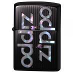 ジッポー オイルライター SHELL INLAY ZIPPO LOGO/ブラックチタン 両面エッチング 貝貼り 2TIBK-LOGO