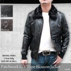 レザージャケット メンズ ブルゾン 革ジャン パッチワーク G-1 フェイクファー付き 14806