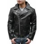 ダブル ライダースジャケット メンズ レザージャケット ライダーズジャケット 革ジャン 本革 牛革 カウ UK 3568 ブラック 黒