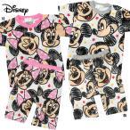 ベビー「ミッキー ミニー 」ディズニー 半袖 パジャマ 総柄 フェイス 2柄 綿100% 肩ボタン サイズ80/90/95cm A7312