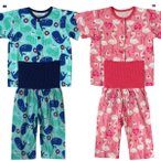 ベビー 男女児 2柄 腹巻き 付 半袖 前開き パジャマ  サイズ80/90/95cm H7312