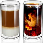 ZENS 二重壁グラス ユニークな八角形 13.5オンス 断熱ガラスカップ 2個セット クリア ホウケイ酸 コーヒーマグ タンブラー カプチーノ ..