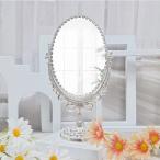 卓上ミラー 月桂樹楕円卓上ミラー(大) スタンドミラー 鏡 テーブルミラ アンティークミラー 化粧鏡 オーバルミラー アンティーク風 姫系 ロココ調 ミラー 楕円