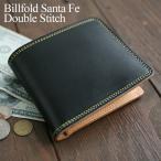 財布 メンズ 二つ折り 革 レザー 送料無料 KC,s ケイシイズ : ビルフォールド サンタフェ ダブルステッチ【ブラック】