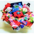 キャンディブーケ 手持ち なかよし クリスマス サンタ&スノーマン レッド   お菓子 詰め合わせ キャンディーブーケ