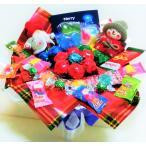 キャンディブーケ 手持ち なかよし クリスマス サンタ&ギフトスノーマン レッド   お菓子 詰め合わせ キャンディーブーケ