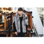 毛皮コート ファーコート メンズ ショットコート フォクス フード付き フェイクファー おしゃれ 上着 暖かい 秋冬 防寒 高級素材 メンズファッション 送料無料