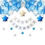 [スリール] 誕生日 飾り付け バルーン (Happy Birthday) 豪華 光沢 風船 装飾 セット ポンプ クリップ 付き (ブルー