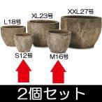 植木鉢・アビス・ネブラ・ラウンド・2個セット・2サイズ(S12号・M16号)(底穴あり)(陶器製/アンティーク仕上げ/サンドブラスト)(プランター/ポット)