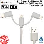 訳あり アウトレット ラスタバナナ タブレット/スマホ/iPhone マイクロUSB タイプC ライトニング 充電・通信 ケーブル 2.4A 1.2m Type-C CVSHE275