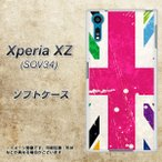 au Xperia XZ SOV34 TPU ソフトケース やわらかカバー SC806 ユニオンジャック ピンクビンテージ 素材ホワイト UV印刷