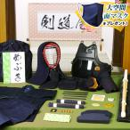 剣道防具 入門セット 6ミリ刺し「いぶきJFP」 ●印伝風面乳革「青・トンボ」プレゼント