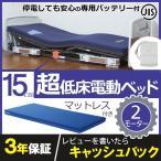介護ベッド プラッツ 超低床電動ベッド ラフィオ(Rafio) 2モーター ベーシックベッド 樹脂ボード マットレス付き バッテリー付