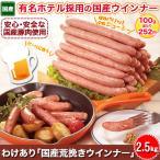 ウィンナー 粗挽き 豚肉 食品「わけあり 国産荒挽きウインナー」2.5kgセット