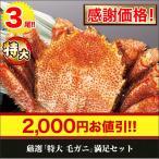かに カニ 蟹 【感謝価格】厳選「特大毛ガニ」満足セット 3尾 約2kg(総重量:2.2kg)