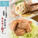 ホルモン 気仙沼ホルモン・餃子セット 【からくわ】 (ホルモン500g 餃子8個) 豚ホルモン 赤 白 モツ 焼き肉 鍋 レシピ 作り方 お取り寄せ
