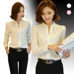 ショッピングパフスリーブ 新作 Vネック ブラウスシャツ 立ち襟 パフスリーブ カジュアル オフィス