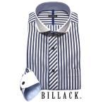 BILLACK メンズワイシャツ 長袖 ネイビー ロンスト ホリゾンタル ラウンド クレリック ワイド シャツ ビジネス お洒落着 形態安定加工 KF2034-5