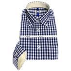 メンズ ワイシャツ 長袖 形態安定 ギンガムチェック ボタンダウン シャツ ビジネス お洒落着 KF2045-4