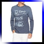 サイズ ブルー デシグアル メンズ ボーダー柄プリントTシャツ 長