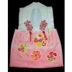 ショッピング梅 七五三 3歳被布コート単品 正絹手描き友禅 ねじり梅柄白 ピンク 日本製