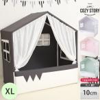 キッズベッド ベッドハウス プレイハウス XLサイズ アップグレード 10cm マット付き 子供 赤ちゃん 北欧 屋根 キャノピー 子供部屋 COZY STORYクリスマス