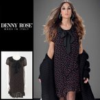 デニーローズ DENNY ROSE ワンピース レディース 小花柄 袖シースルー パフスリーブ 裾フリル