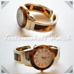 腕時計 レディース バングルウォッチ べっ甲調 べっ甲柄 上品 かわいい 1年間のメーカー保証付 メール便不可