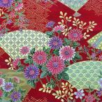 和柄生地 和風花柄着物風 雅な金扇 (赤) 1600-91B 生地 和柄 和調 手芸 綿 布