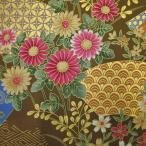 和調生地 和風花柄着物風 雅な金扇  金茶 (91D)