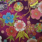 和柄生地・和風花柄着物風花物語(紫)/生地・和柄・和調・手芸・綿・布・和布