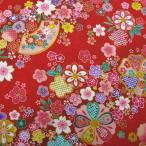 和調生地 和風花柄着物風 金彩斜め花模様 赤