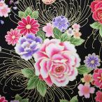 和柄生地・和風花柄着物風鼓と扇と花模様(黒)/生地・和柄・和調・手芸・布地・綿・布・和布