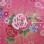 シーチング 和風花柄 着物風 鼓と扇と花模様 ピンク