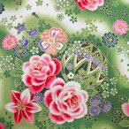 シーチング 和柄生地 着物風 グラデーション花と毬 緑
