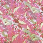 ショッピング和柄 和柄生地・流水と鶴の舞(ピンク)/生地・和柄・和調・手芸・布・綿・和布