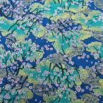 和柄布 雅な金織桜文様  青系 和調和柄生地